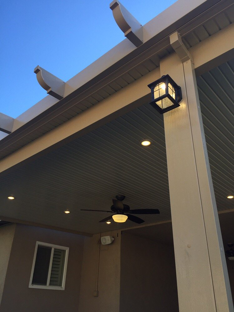 Simple solidcovered cover with post lights ceiling fan and 6 led photo of above beyond patio covers west covina ca united states workwithnaturefo