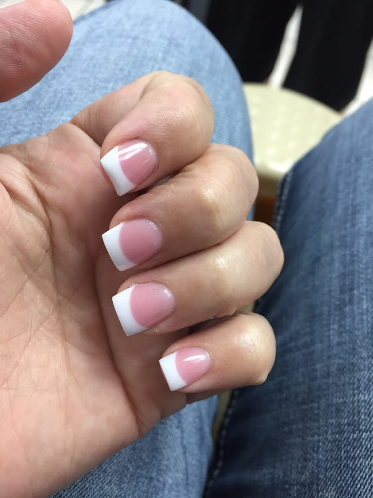 This Is A Full Set Solar Pink And White I Had Taken My Nails