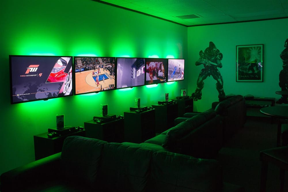 The Game Cave Room Filled With 8 Led Tvs Paired With The