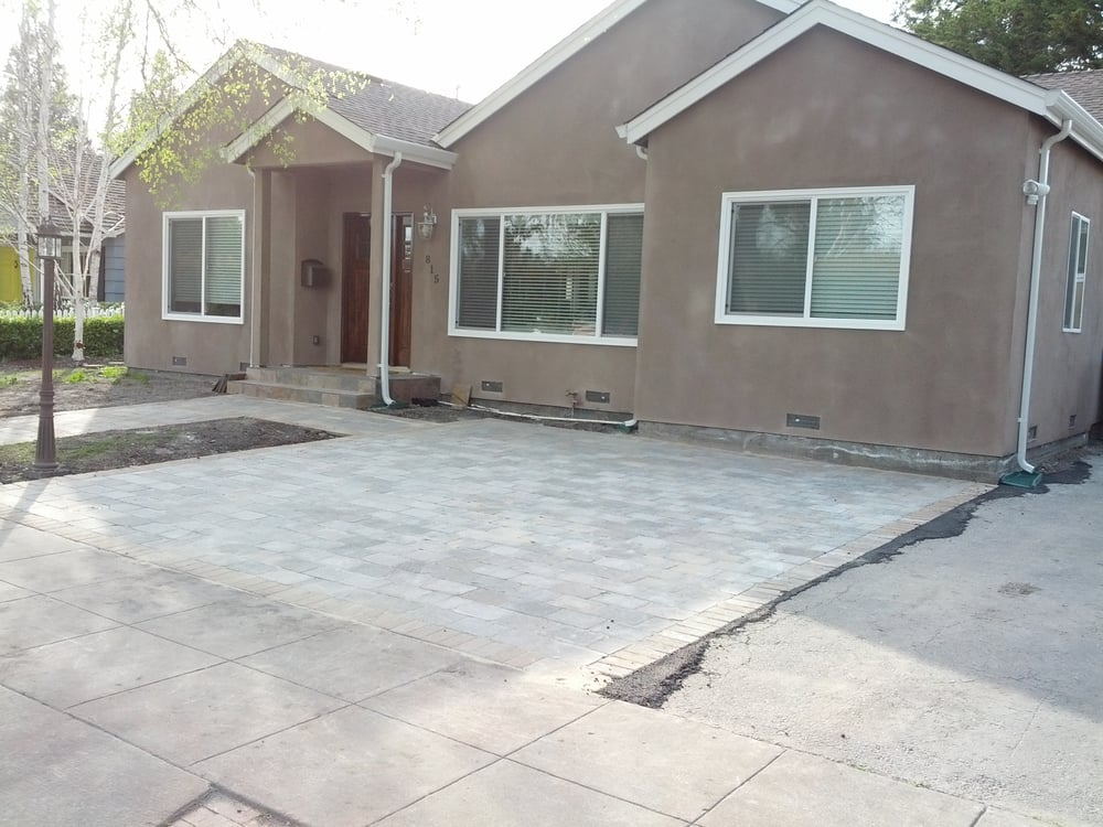 Paver patio installed in our front yard by Ideal ... on Concrete Yard Ideas id=17730