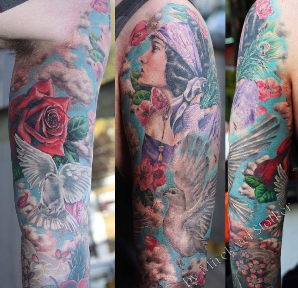 Gypsy girl with roses tattoo by Mirek vel Stotker, London