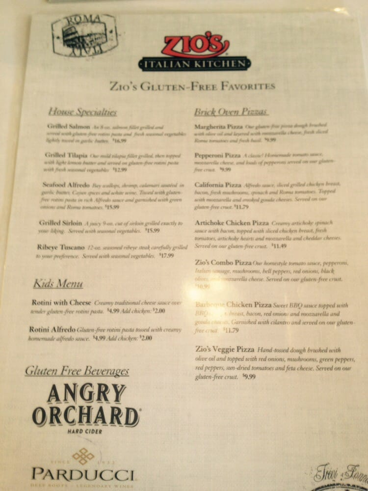 Olive Garden Menu Pdf: Their Gluten Free Menu Page 1 Of 2.