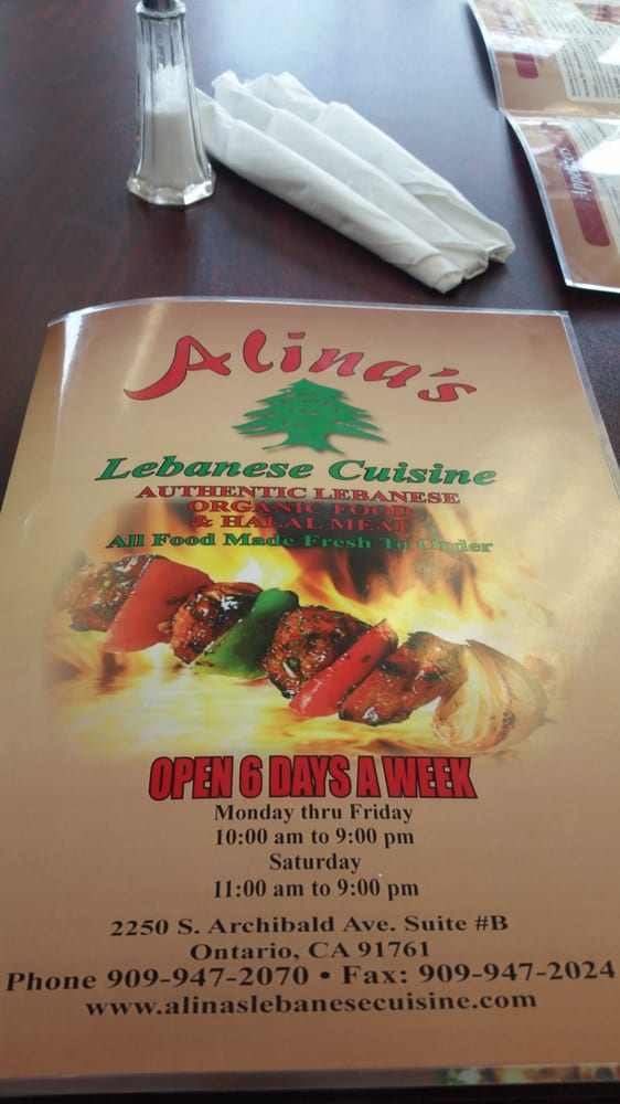 Menu yelp for Alinas lebanese cuisine
