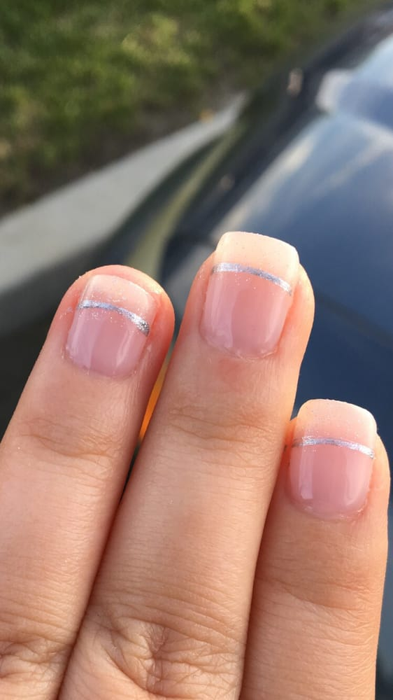 french tip with silver line and glitter top - Yelp