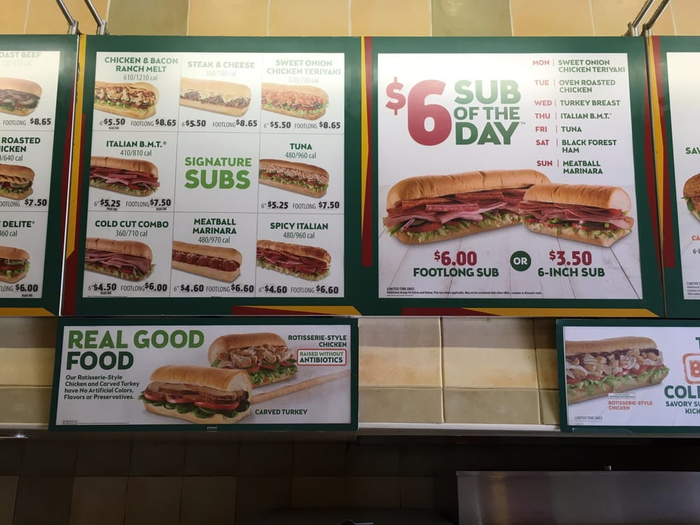 Subway 6 inch sub of the day