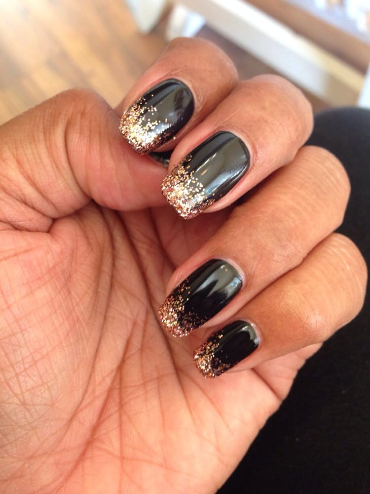Black Nail Polish With Gold Sparkle