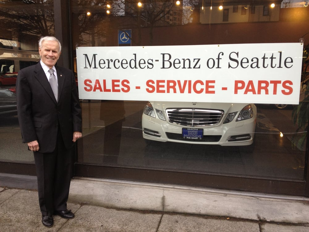 Founder of phil smart inc stands out front of now for Mercedes benz of seattle