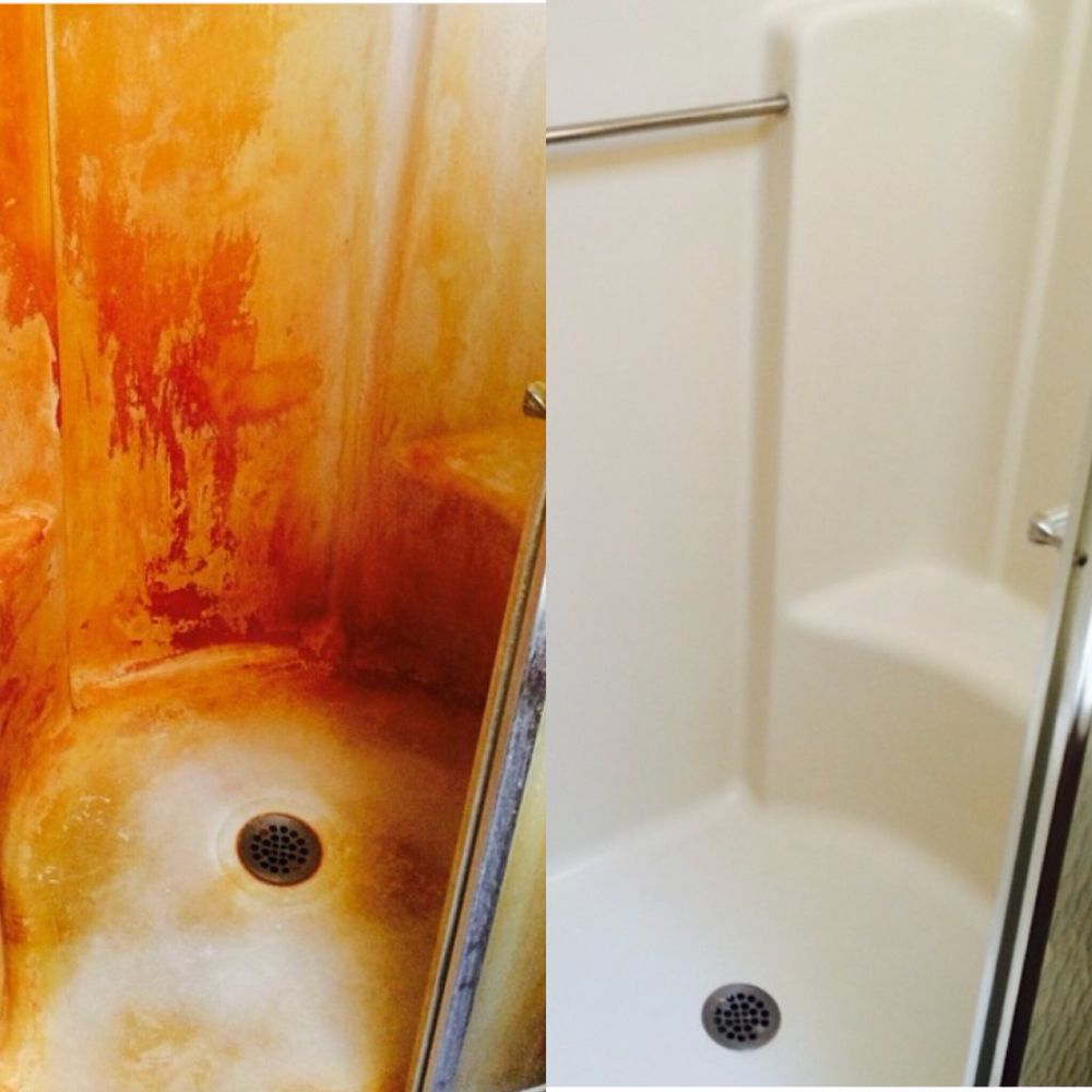 Before, well water and rust deposits/ after Dirty Girls