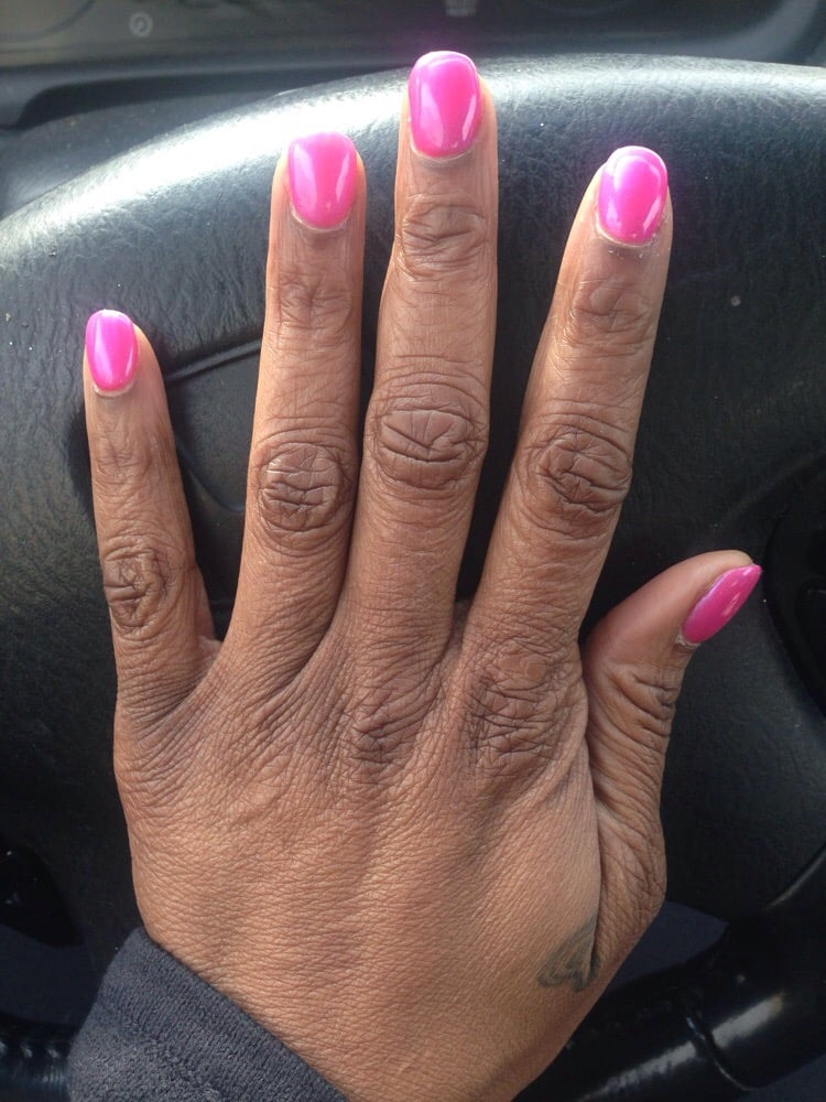 Acrylic Gel Nails W/ OPI Pink Nail Color.