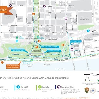 Map of Gateway Arch National Park (in green) with downtown St. Louis Downtown St Louis Hotels Map on
