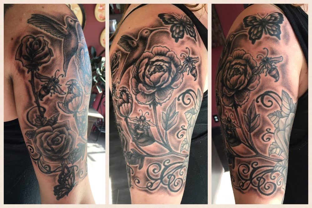 Flowers And Bees And Butterflies By Tanna Hill At The Beesnest Tattoo
