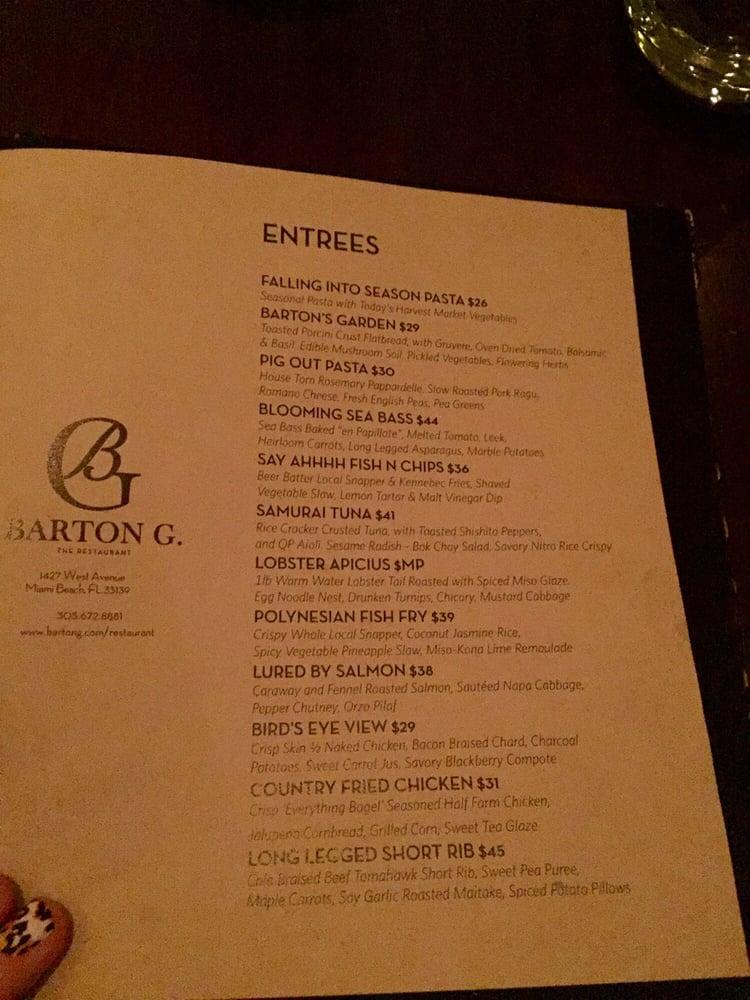 Barton G The Restaurant Miami Beach Fl Prices