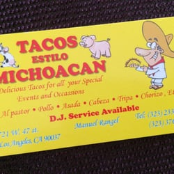 Tacos estilo michoacan closed caterers 721 w 47th st photo of tacos estilo michoacan los angeles ca united states business card reheart Images