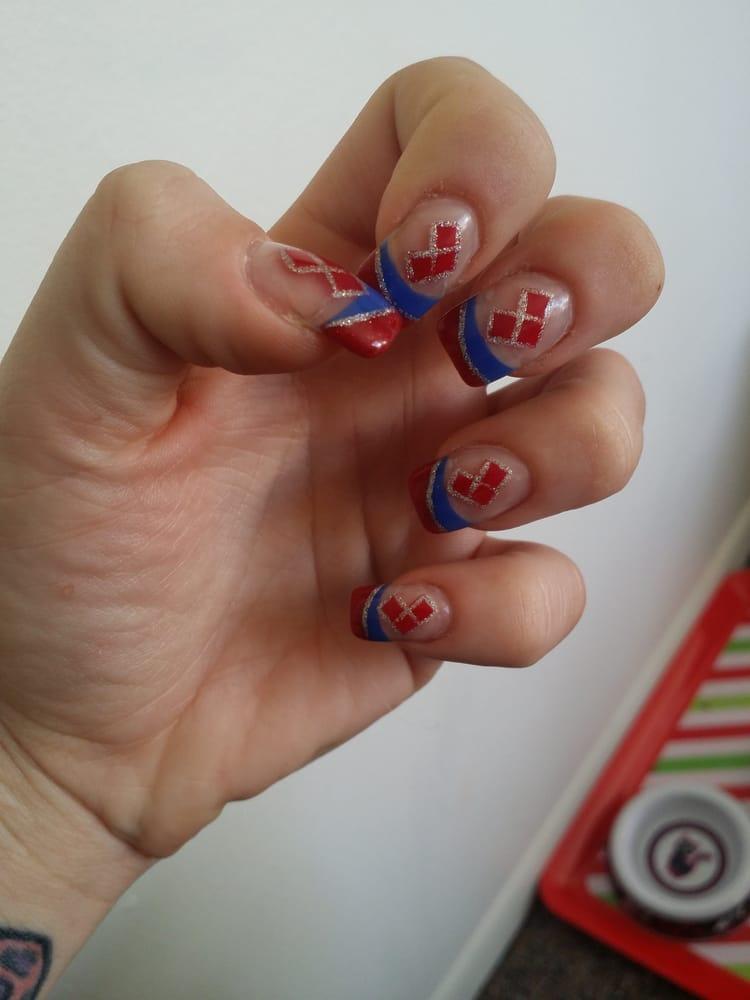 Jennifer \'s superb acrylic on acrylic nails with Harlequin diamond ...