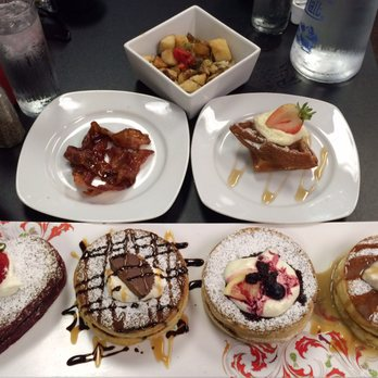 ... banana caramel pancakes Candied bacon, regular waffle, and hash browns