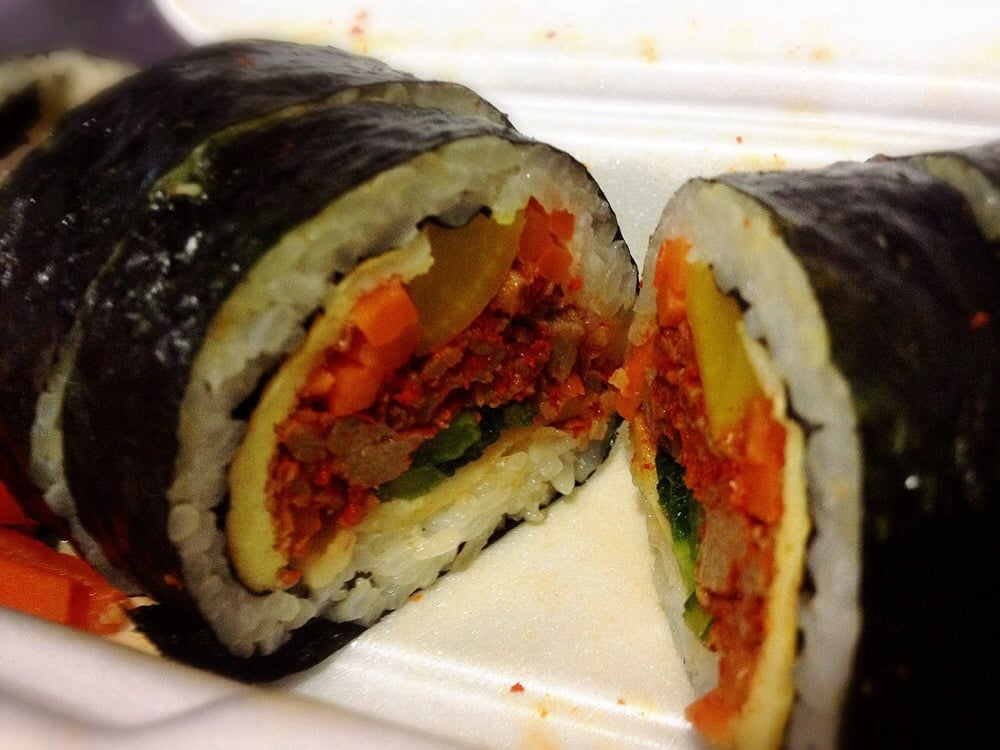 ... of Songs Family Food - Flushing, NY, United States. Spicy beef kimbap