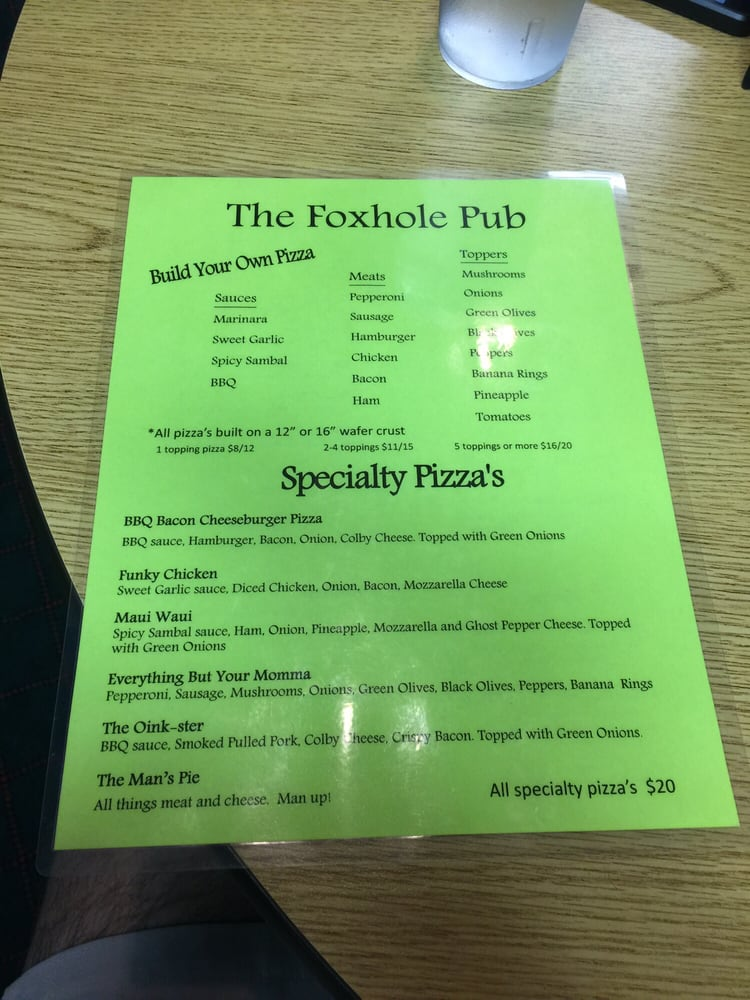 Foxhole Pub: 5961 W Maple Grove Rd, Huntington, IN