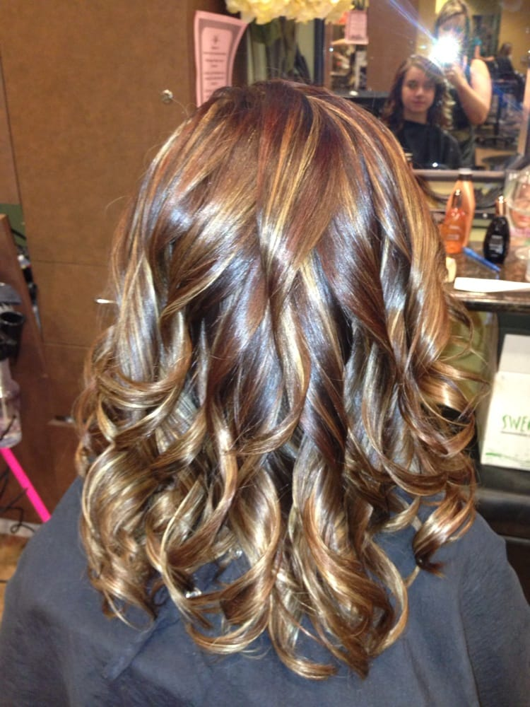 Rich Mocha Brown With Golden Blonde Caramel And Auburn Highlights