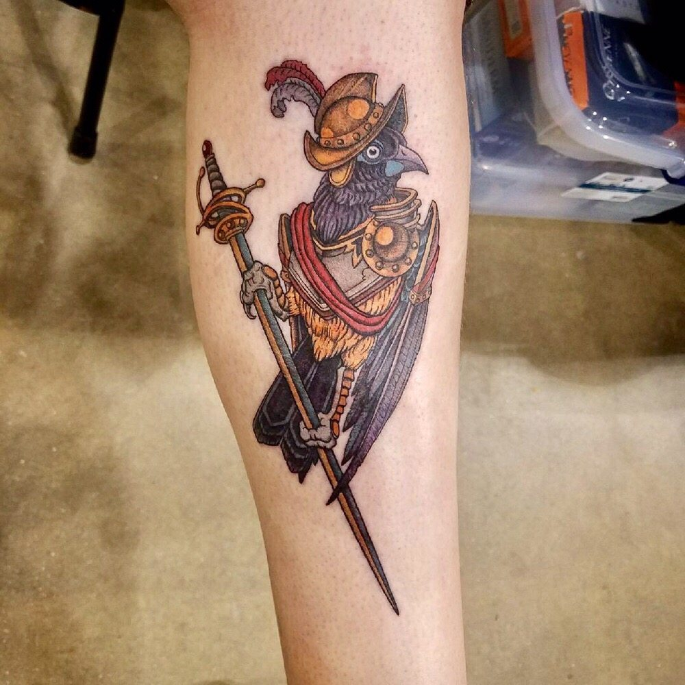Conquistadors bird with sword tattoo by joshua clay yelp for Chicago tattoo piercing co