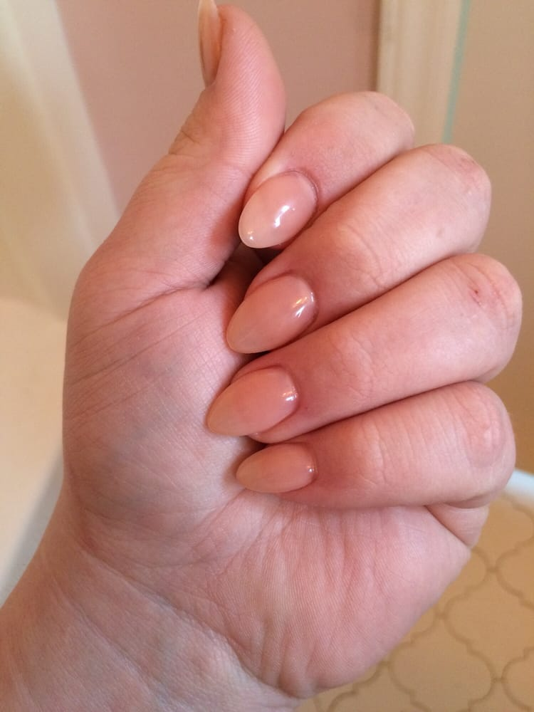 Salmon color gel on full acrylic nails. First time getting this ...