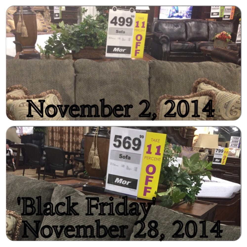 More Furniture For Less: BLACK FRIDAY Price Was Approximately 12% Higher Than A