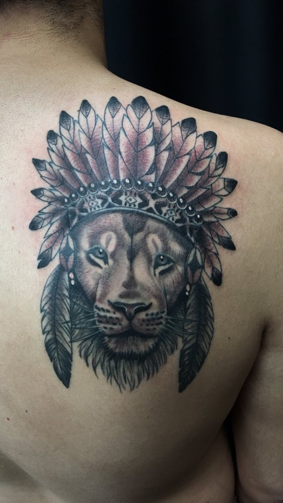 Black And Grey Lion With Headdress By Jordan Yelp