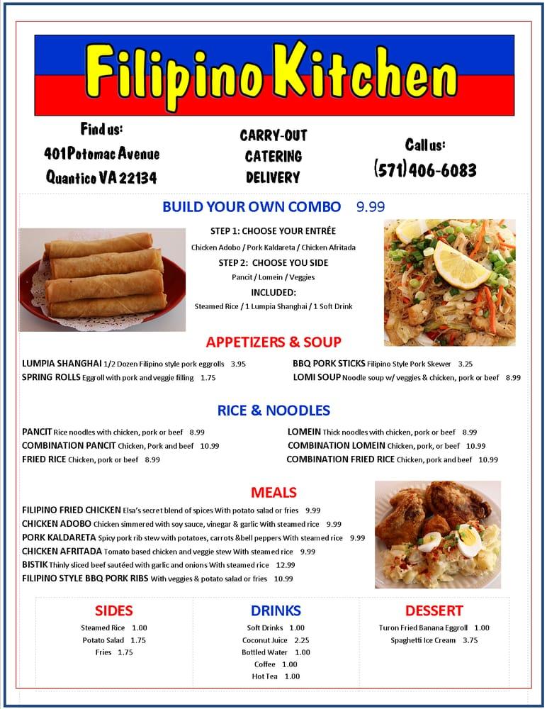 Filipino Kitchen Quantico Menu