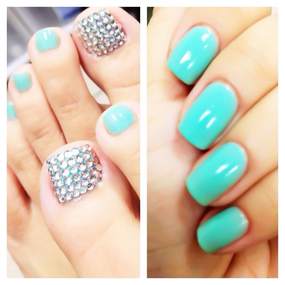 Tiffany blue gel and blinged out toes! - Yelp