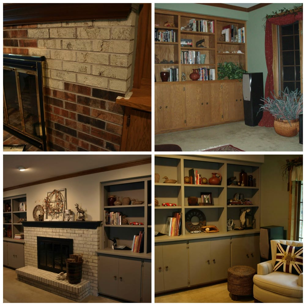 brick fireplace mantel and oak built in cabinetry painted by