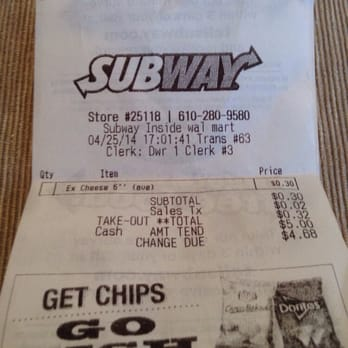 Subway Fax order forms