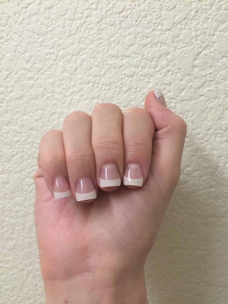 Acrylic full set with French tips (I asked for square shape and very ...