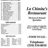 La Chinita Restaurant Menu