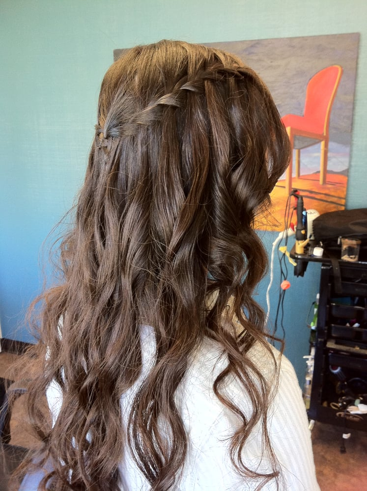 Prom waterfall braid and loose curls - Yelp