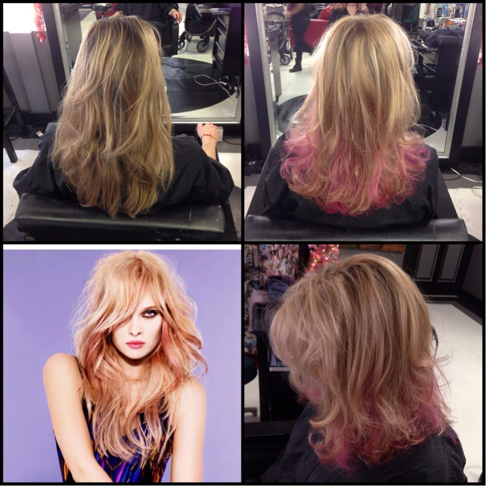 Hair By Linet Blonde Highlights With Ruby Red Violet Peekaboo Yelp