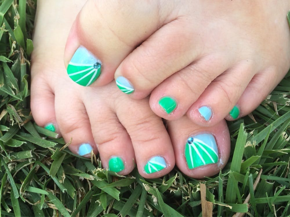 Blue and green fancy nail art pedicure with white lines and blue photo of imperial nail care fullerton ca united states blue and green prinsesfo Image collections