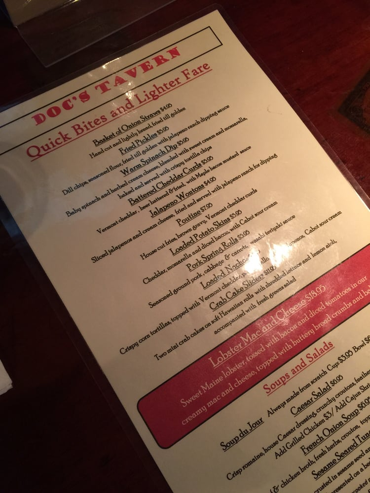 Docs Tavern: 19 Huntington Pl, Rochester, VT
