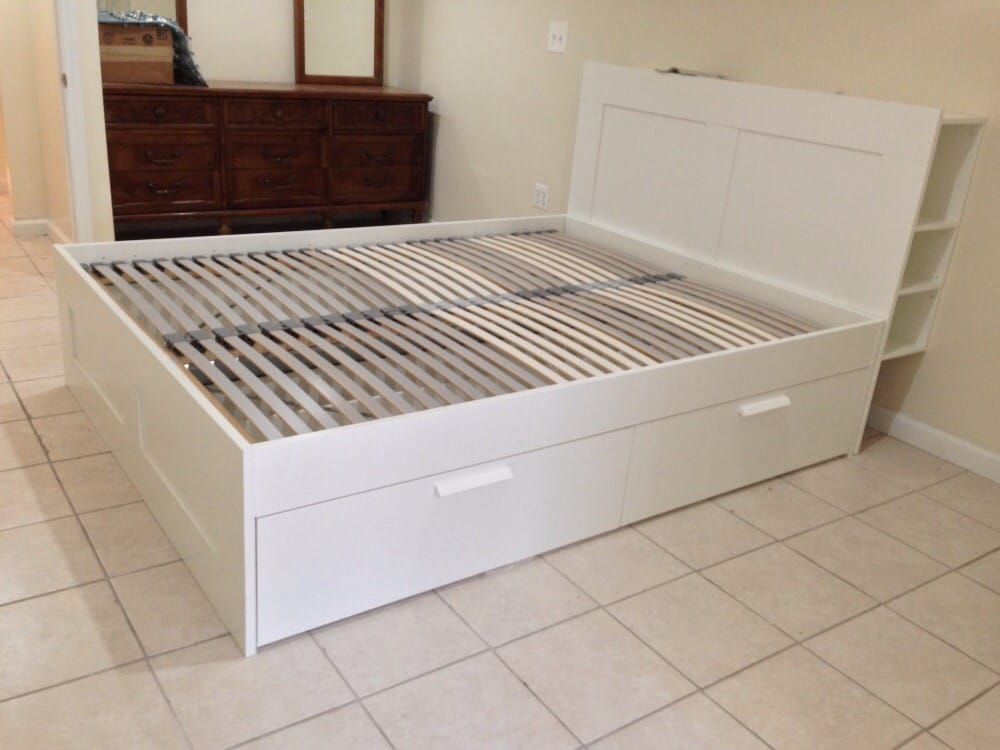 BRIMNES storage bed with LONSET slats and wall attachment of storage headboard Yelp