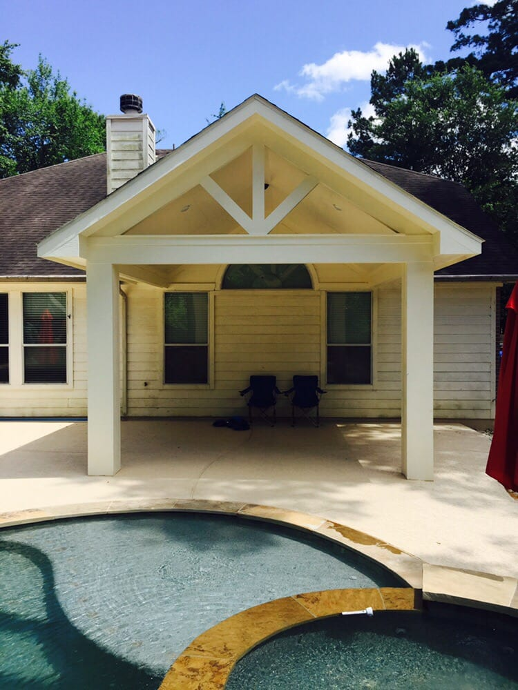 Photo Of Backyard Paradise   Magnolia, TX, United States. Gable Roof Patio  Cover