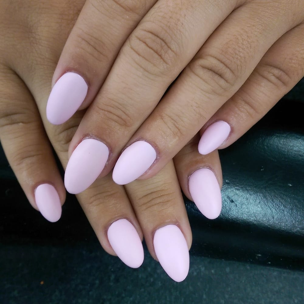 Almond acrylic nails with matte pink.. - Yelp