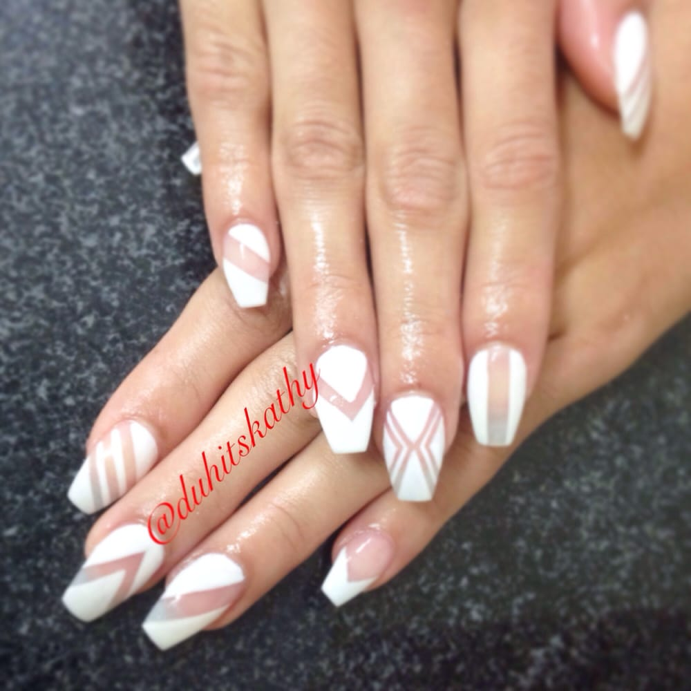 Ballerina/coffin shaped full set sports length ($25) gel polish ($15 ...
