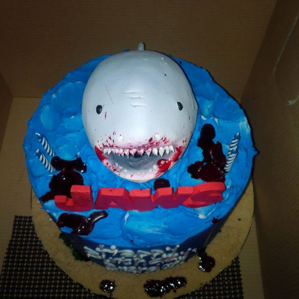 Top View Of The Jaws Cake Created By Piece Of Cake Yelp