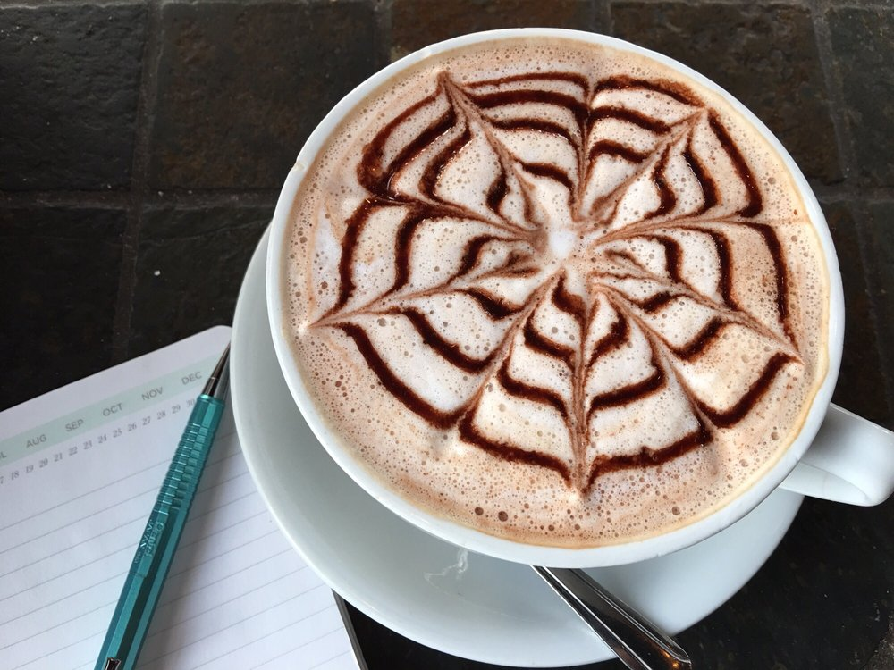 Image of the intricate design on Euro Caffe's Nutella latte