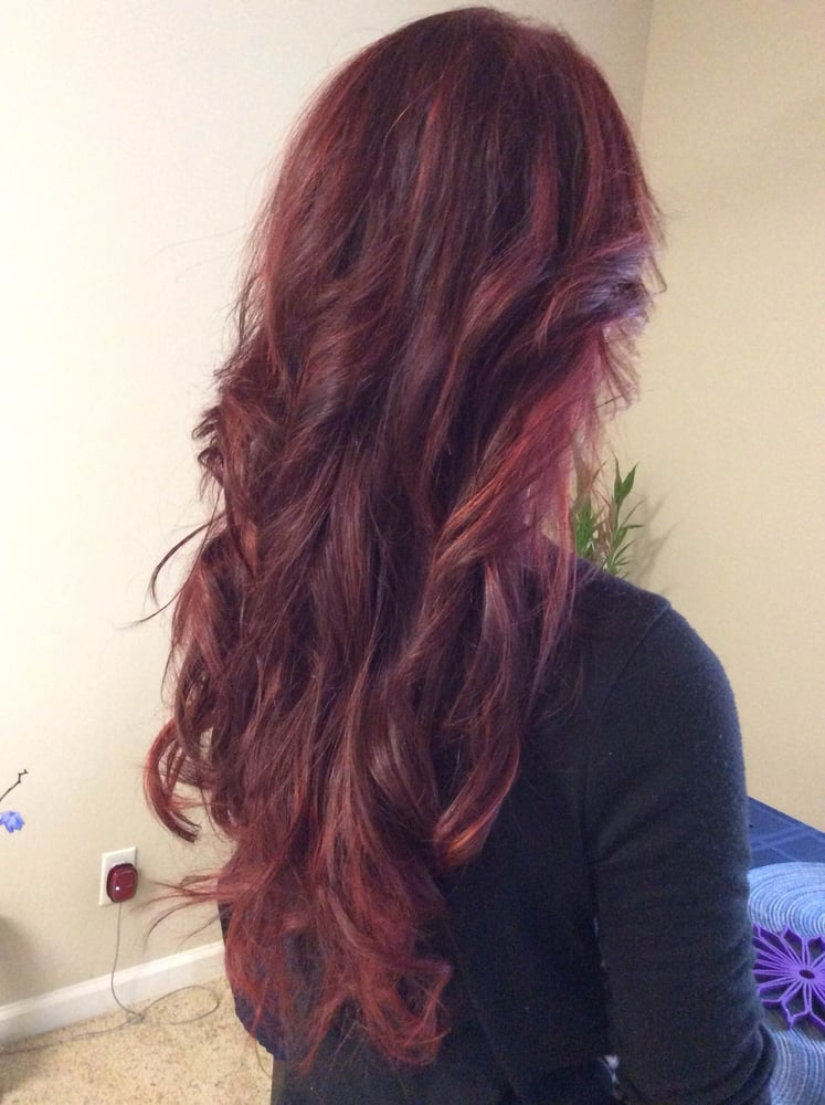 Dark Red Hair Color With Bright Red Highlights Done By Jenny Yelp