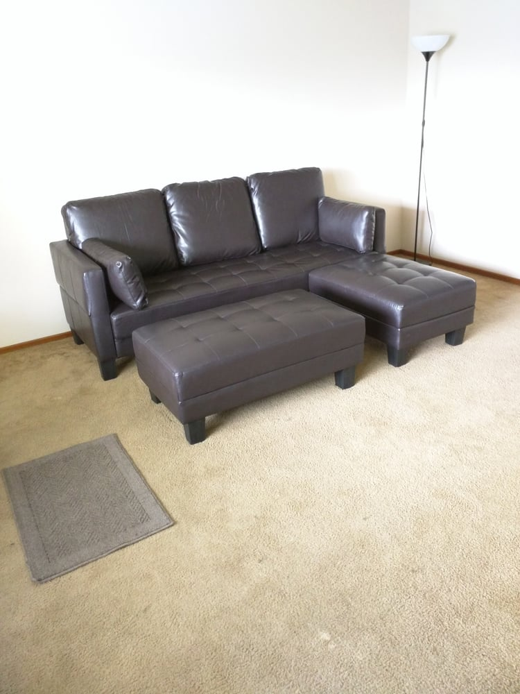 Sofa Amp Two Ottomans Converts To A Queen Bed Many Seating