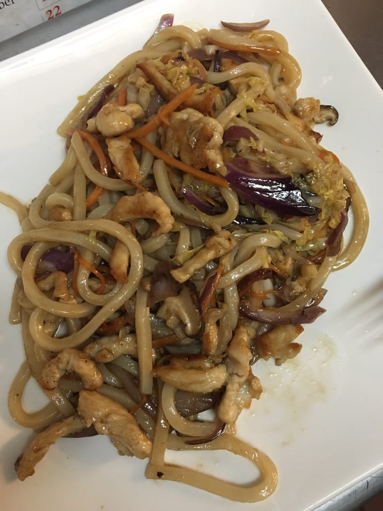 Yaki udon stir fried noodles with chicken the portion was for Akina japanese cuisine