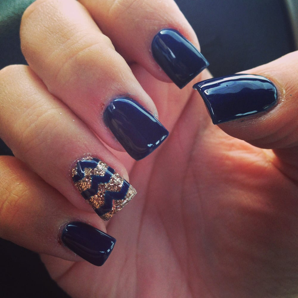 Full set with gel polish (OPI Russian navy) and gold loose glitter ...