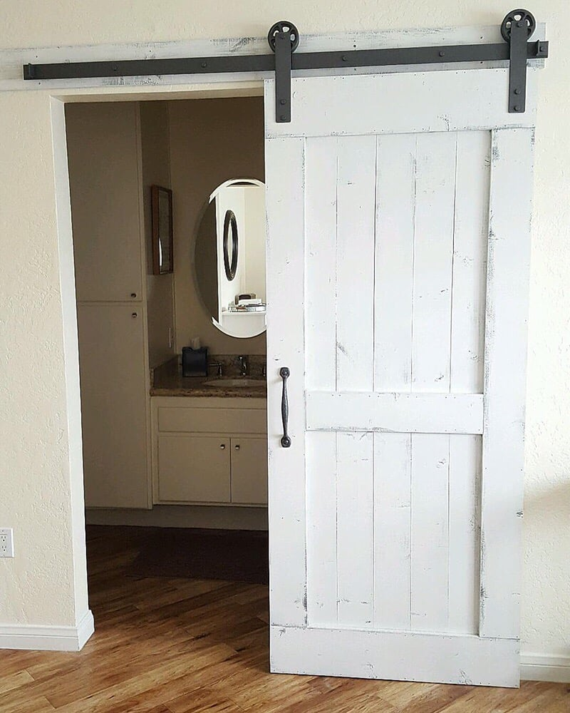 Distressed White Barn Door with hardware for a bathroom ...