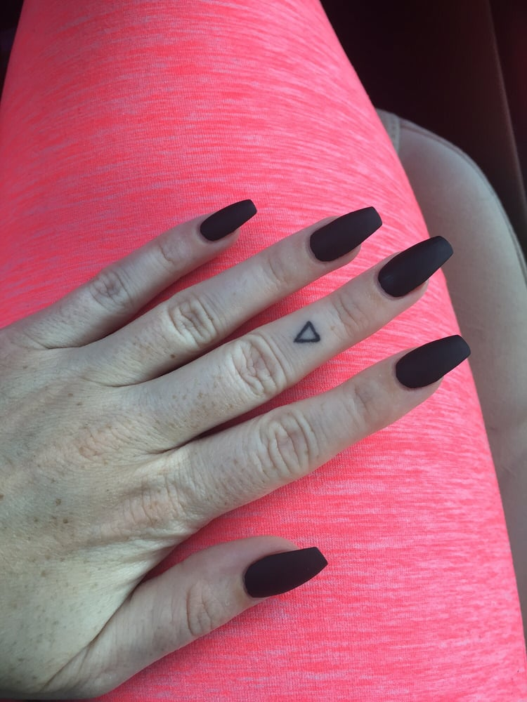 Matte black square stiletto nails by Kevin - Yelp