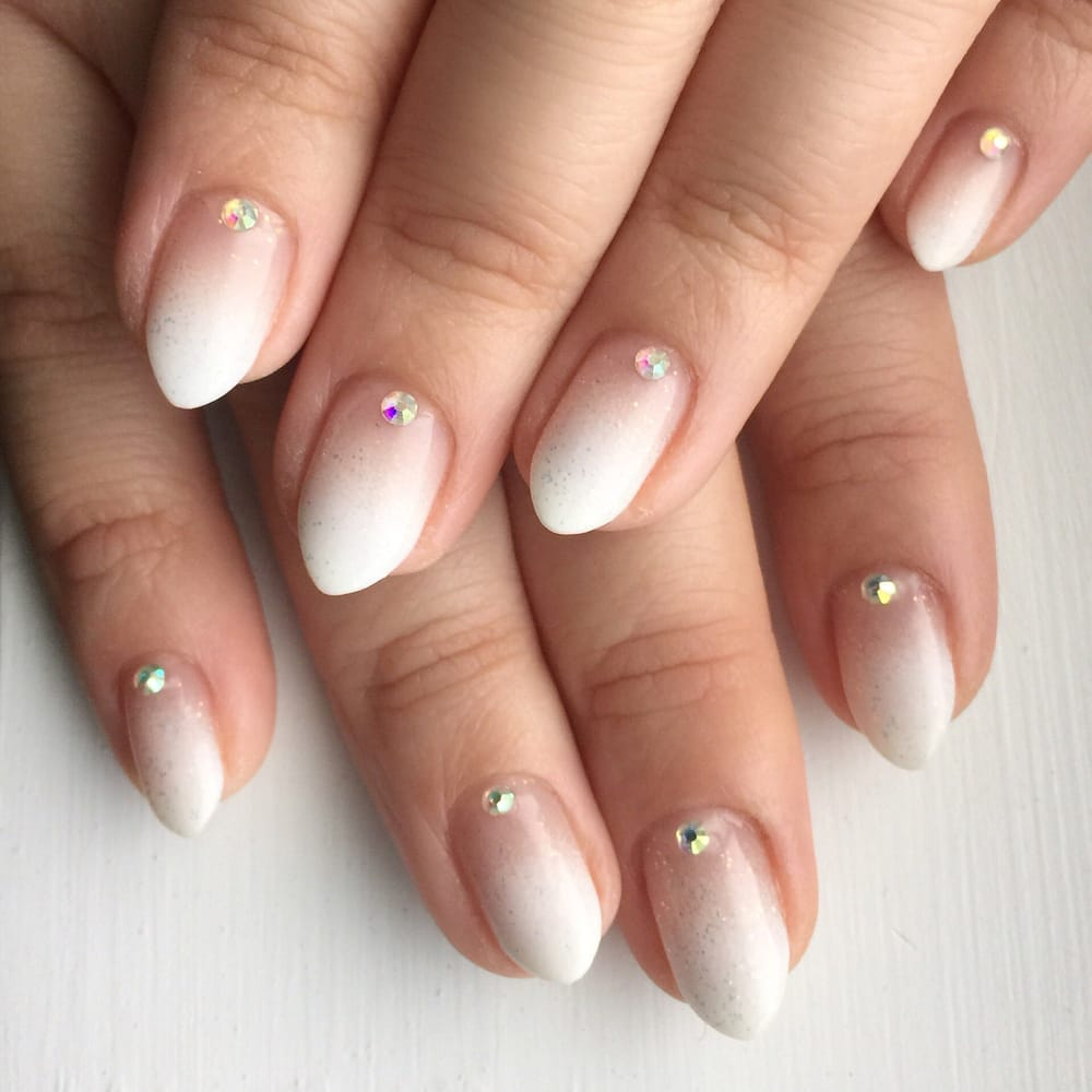 white ombré gel nails with rhinestones! - yelp