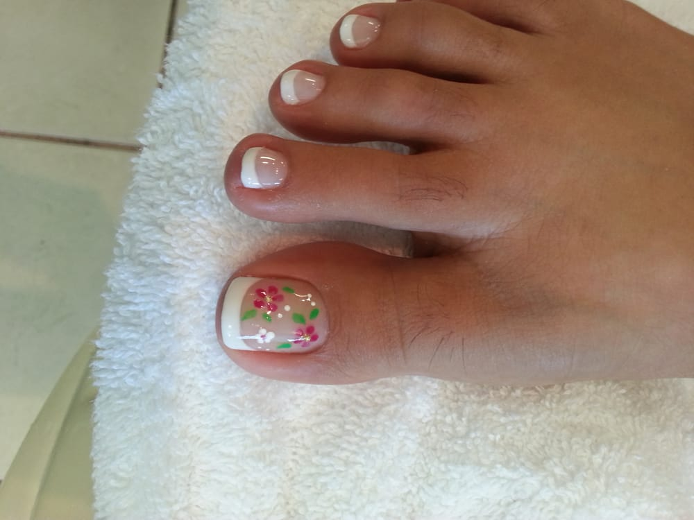Gel french pedicure with flower garden nail art. - Yelp